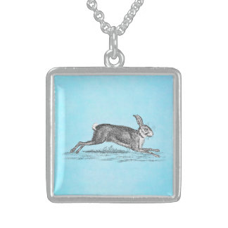 Vintage Hare Bunny Rabbit Illustration - Rabbits Sterling Silver Necklace