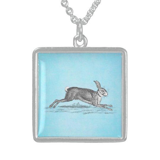 Vintage Hare Bunny Rabbit Illustration -Rabbits Sterling Silver Necklace