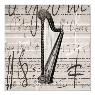 Vintage Harp and Antique Music Collage Customized Card