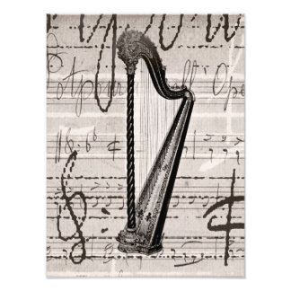 Vintage Harp and Antique Music Collage Customized Photo Print