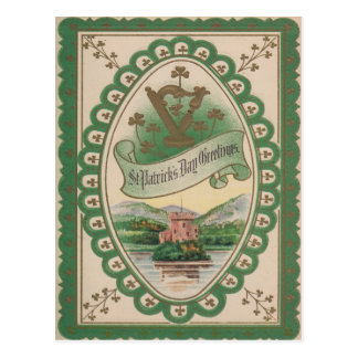 Vintage Harp Of Erin St Patrick's Day Card