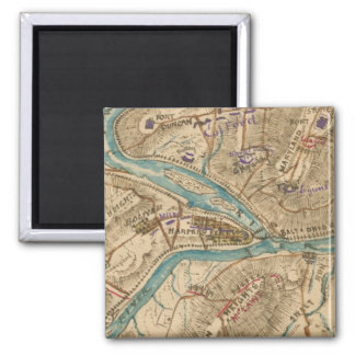 Vintage Harpers Ferry Civil War Map (1862) 2 Inch Square Magnet
