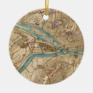 Vintage Harpers Ferry Civil War Map (1862) Ceramic Ornament