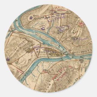 Vintage Harpers Ferry Civil War Map (1862) Classic Round Sticker