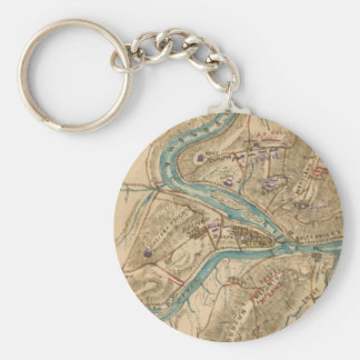 Vintage Harpers Ferry Civil War Map (1862) Keychain