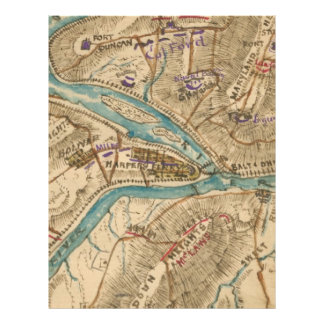 Vintage Harpers Ferry Civil War Map (1862) Letterhead