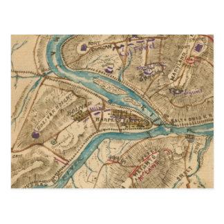 Vintage Harpers Ferry Civil War Map (1862) Postcard