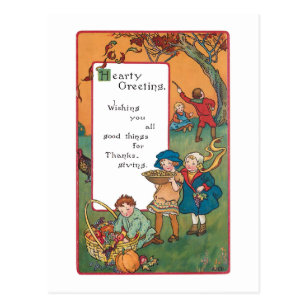 Vintage Harvest Children And Thanksgiving Verse Postcard