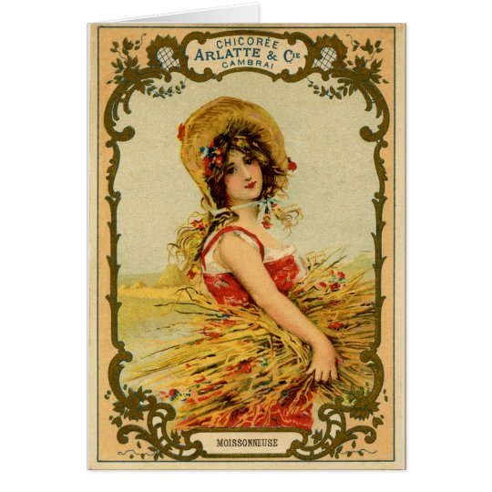 Vintage Harvest Girl Card
