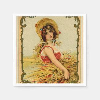 Vintage Harvest Girl Paper Napkins