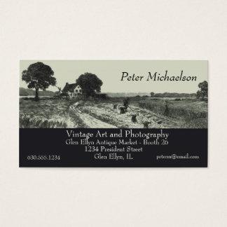 Vintage Harvest Scene Etching Business Card