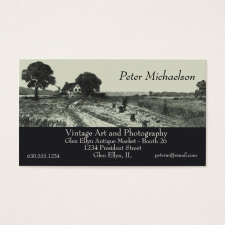 Vintage Etching of Farmers Harvesting Wheat Crop Business Cards
