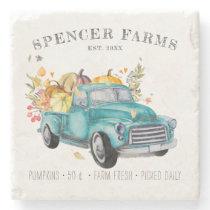 Vintage Harvest Truck | Family Name Farmhouse Stone Coaster