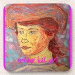 vintage hat girl coaster