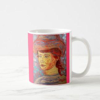 vintage hat girl coffee mug
