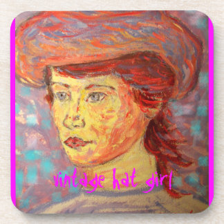 vintage hat girl drink coaster