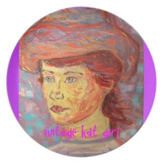 vintage hat girl plate