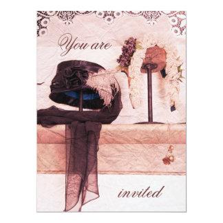 Vintage hats bridal shower invitation template