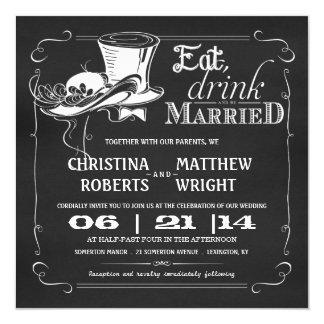 "Vintage Hats Chalkboard Wedding Invitations 5.25"" Square Invitation Card"