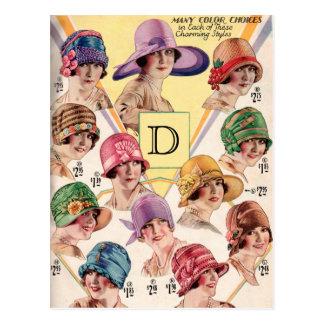 Vintage Hats Custom Monogram postcards