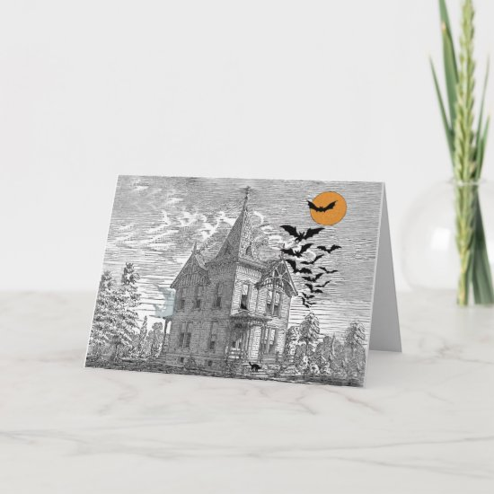 Vintage Haunted House Halloween Custom Birthday Card