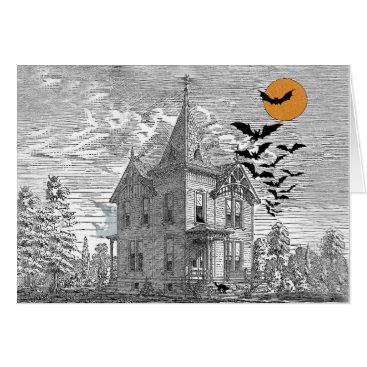 Halloween Themed Vintage Haunted House Halloween Custom Birthday Card