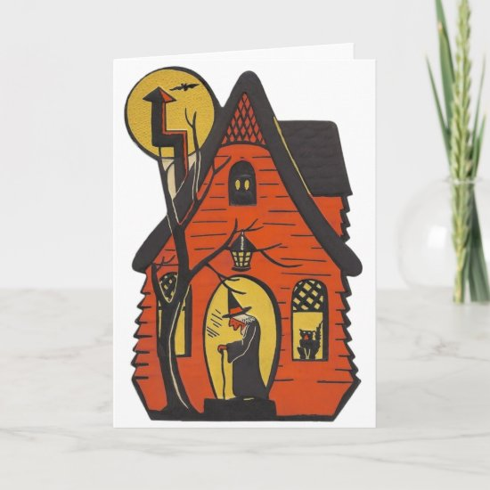 Vintage Haunted House Halloween Greeting Card