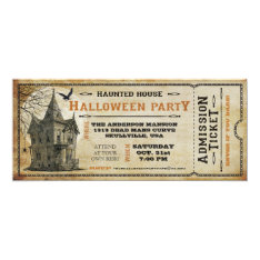 Vintage Haunted House Halloween Party Ticket I Card at Zazzle
