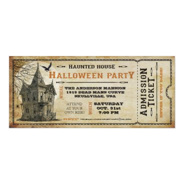 Halloween Themed Vintage Haunted House Halloween Party Ticket I Card