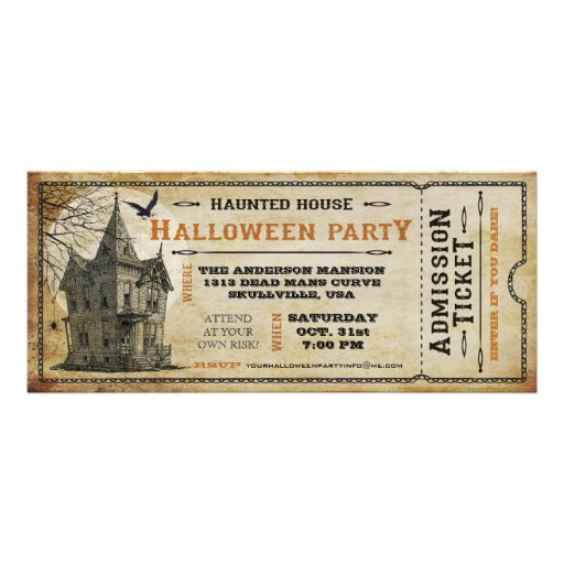 Vintage Haunted House Halloween Party Ticket I Personalized Invitation