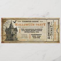Vintage Haunted House Halloween Party Ticket I Invitation