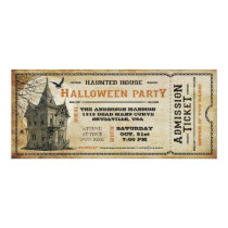 Vintage Haunted House Halloween Party Ticket I Invitation