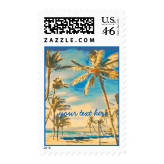 Vintage Hawaii Beach Scene/DIY postage stamp