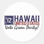 Vintage Hawaii del Partido Verde del voto en 2012  Pegatinas Redondas