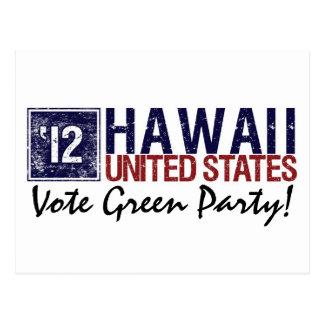 Vintage Hawaii del Partido Verde del voto en 2012 Tarjetas Postales