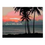 Vintage Hawaii Destination Wedding save the date Postcard