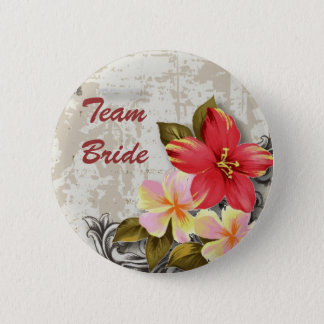 vintage hawaii hibiscus floral tropical wedding button