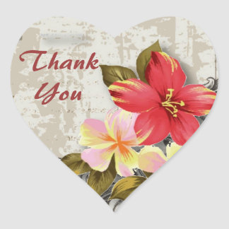 vintage hawaii hibiscus floral tropical wedding heart sticker