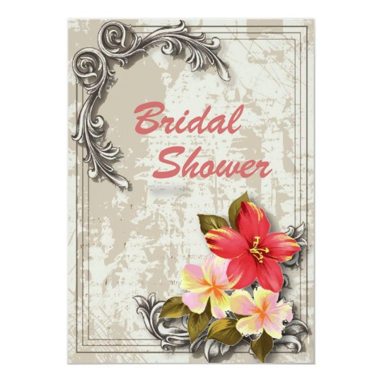 Wedding Invitations Hawaii: Vintage Hawaii Hibiscus Floral Tropical Wedding Invitation