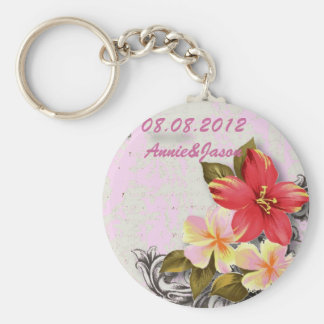 vintage hawaii hibiscus floral tropical wedding keychain