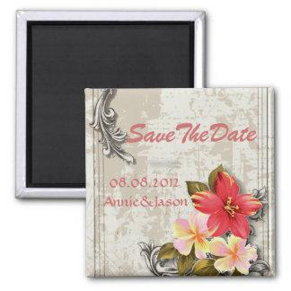 vintage hawaii hibiscus floral tropical wedding magnet