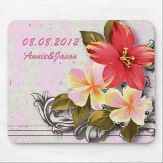 vintage hawaii hibiscus floral tropical wedding mouse pad