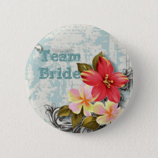 vintage hawaii hibiscus floral tropical wedding pinback button