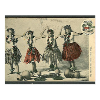 Vintage Hawaii Hula Dancers Postcard