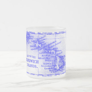 Vintage Hawaii Map, Blue Frosted Glass Coffee Mug