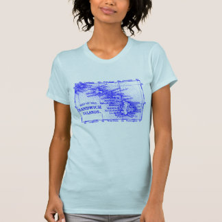 Vintage Hawaii Map, blue T-Shirt