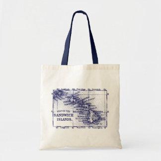 Vintage Hawaii Map, Dark Blue Canvas Bags