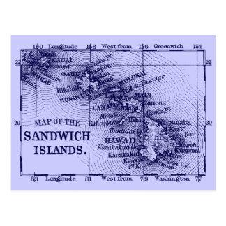 Vintage Hawaii Map, Dark Blue Postcard