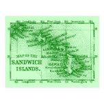 Vintage Hawaii Map, Green Postcard