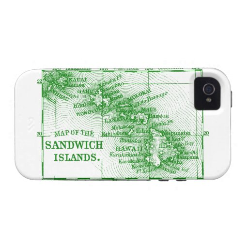Vintage Hawaii Map, Green Vibe iPhone 4 Cases